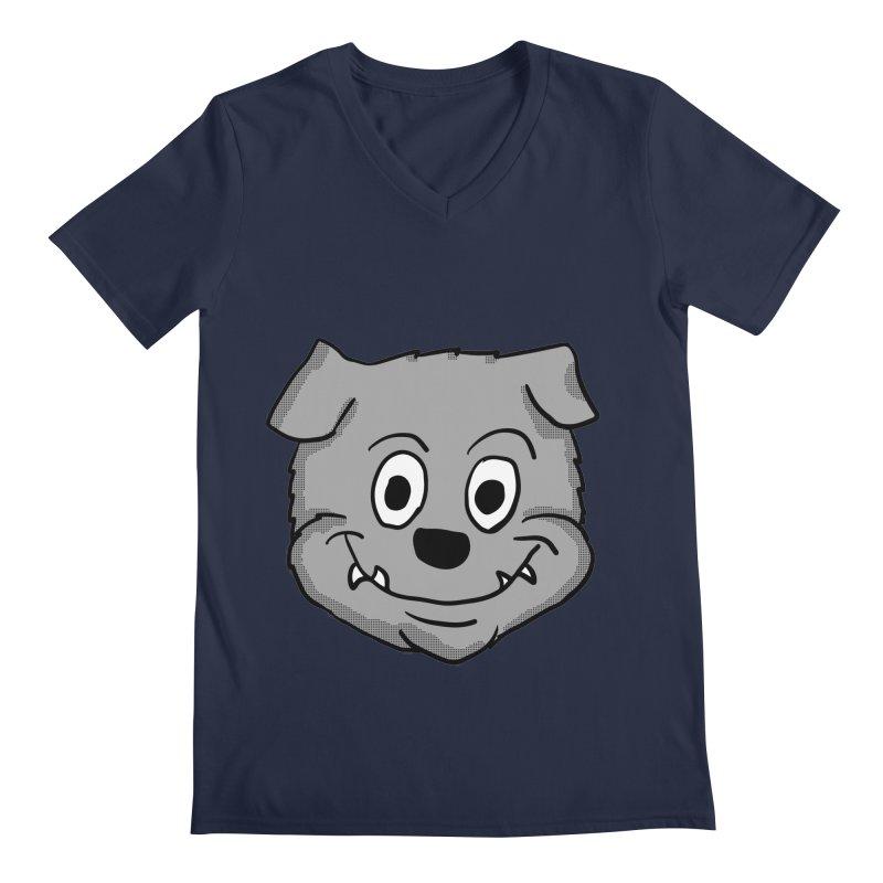 Cartoon Bulldog puppy head Men's V-Neck by ericallen's Artist Shop