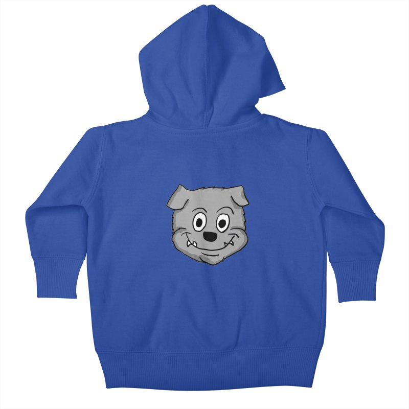 Cartoon Bulldog puppy head Kids Baby Zip-Up Hoody by ericallen's Artist Shop