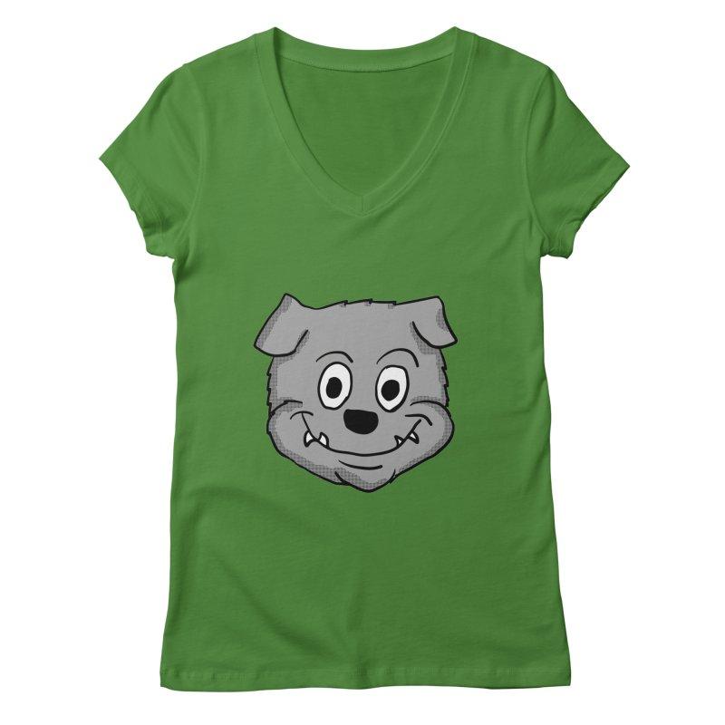 Cartoon Bulldog puppy head Women's V-Neck by ericallen's Artist Shop