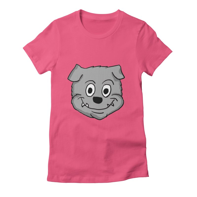 Cartoon Bulldog puppy head Women's Fitted T-Shirt by ericallen's Artist Shop