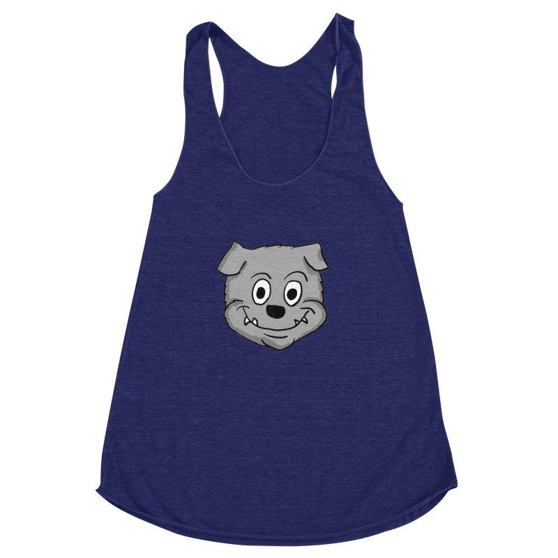 Cartoon Bulldog puppy head Women's Racerback Triblend Tank by ericallen's Artist Shop