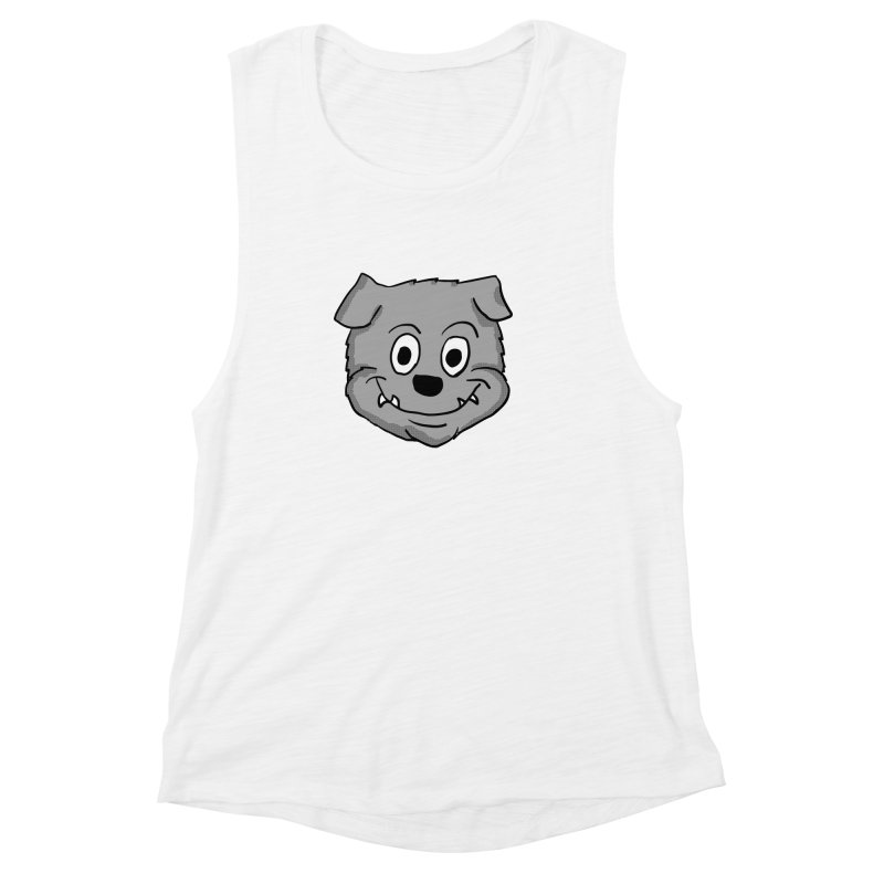 Cartoon Bulldog puppy head Women's Muscle Tank by ericallen's Artist Shop