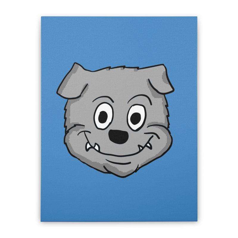 Cartoon Bulldog puppy head Home Stretched Canvas by ericallen's Artist Shop