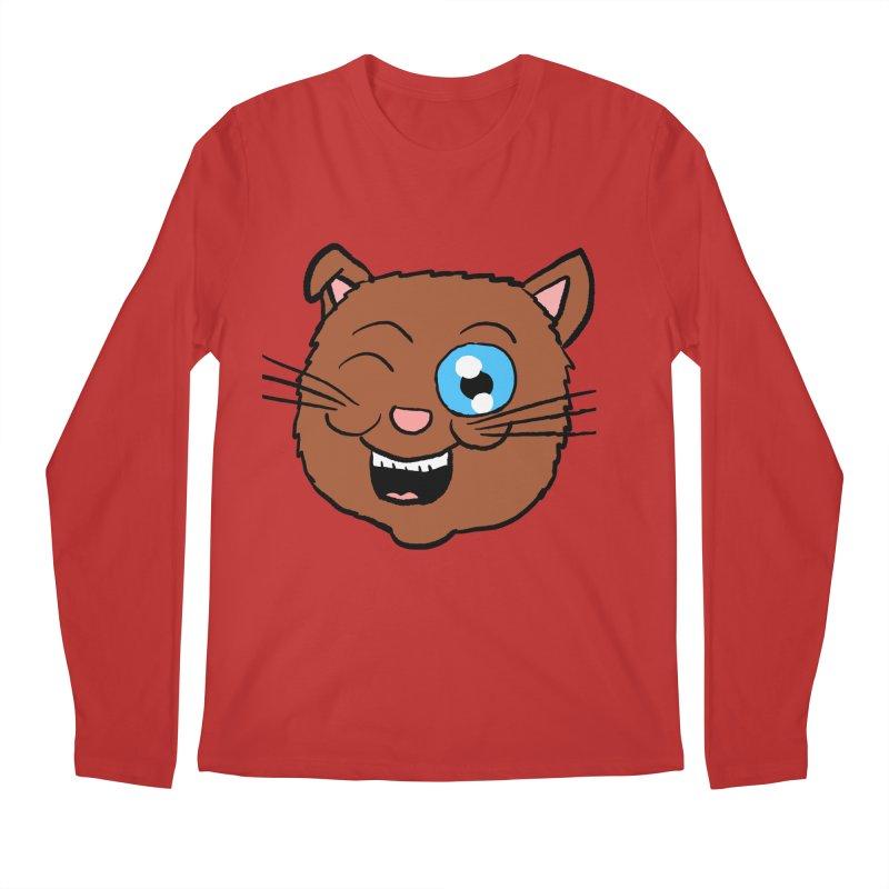 Winking Cat Head Men's Longsleeve T-Shirt by ericallen's Artist Shop