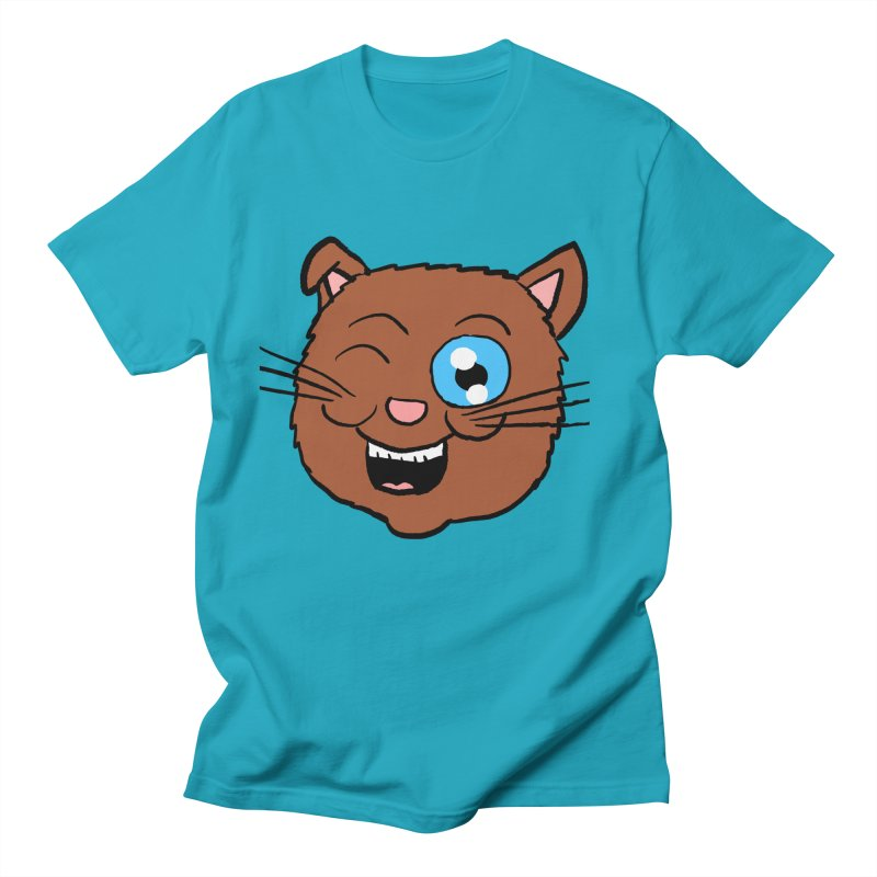 Winking Cat Head in Men's T-Shirt Cyan by ericallen's Artist Shop