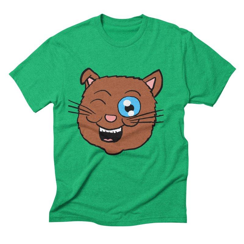 Winking Cat Head Men's Triblend T-Shirt by ericallen's Artist Shop