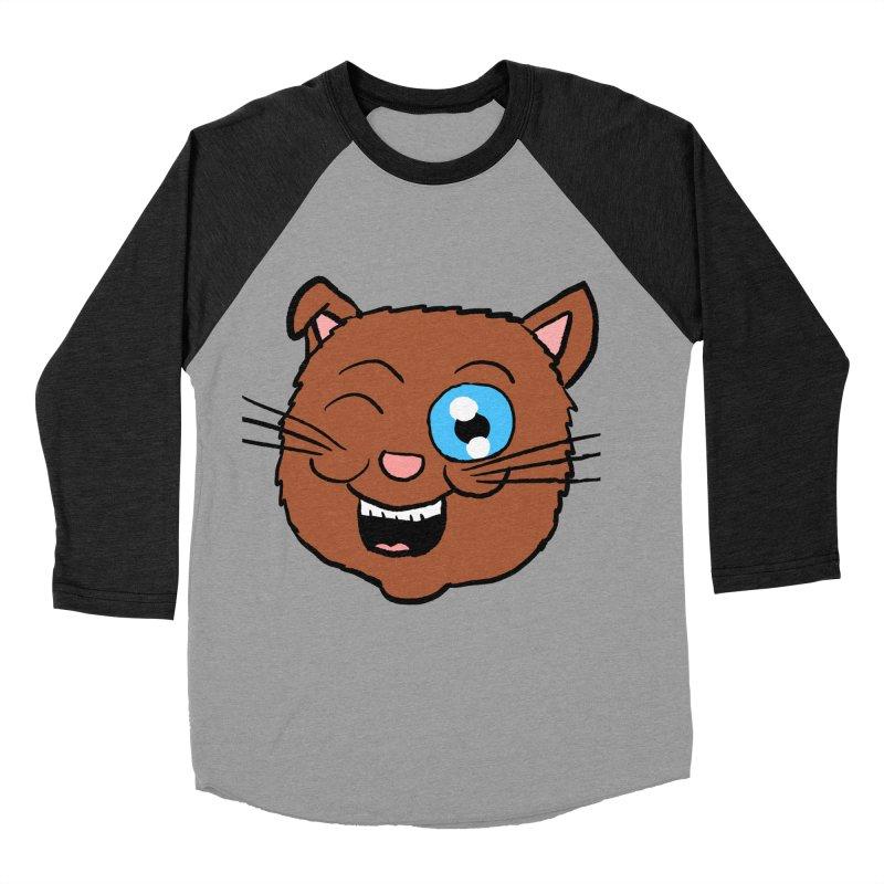 Winking Cat Head Men's Baseball Triblend T-Shirt by ericallen's Artist Shop