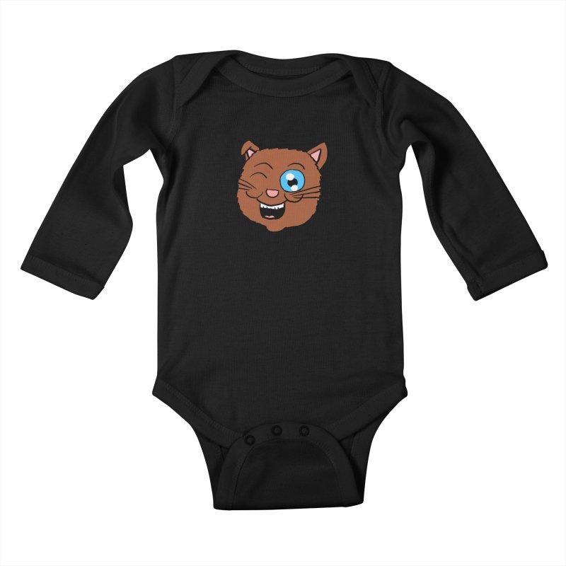 Winking Cat Head Kids Baby Longsleeve Bodysuit by ericallen's Artist Shop