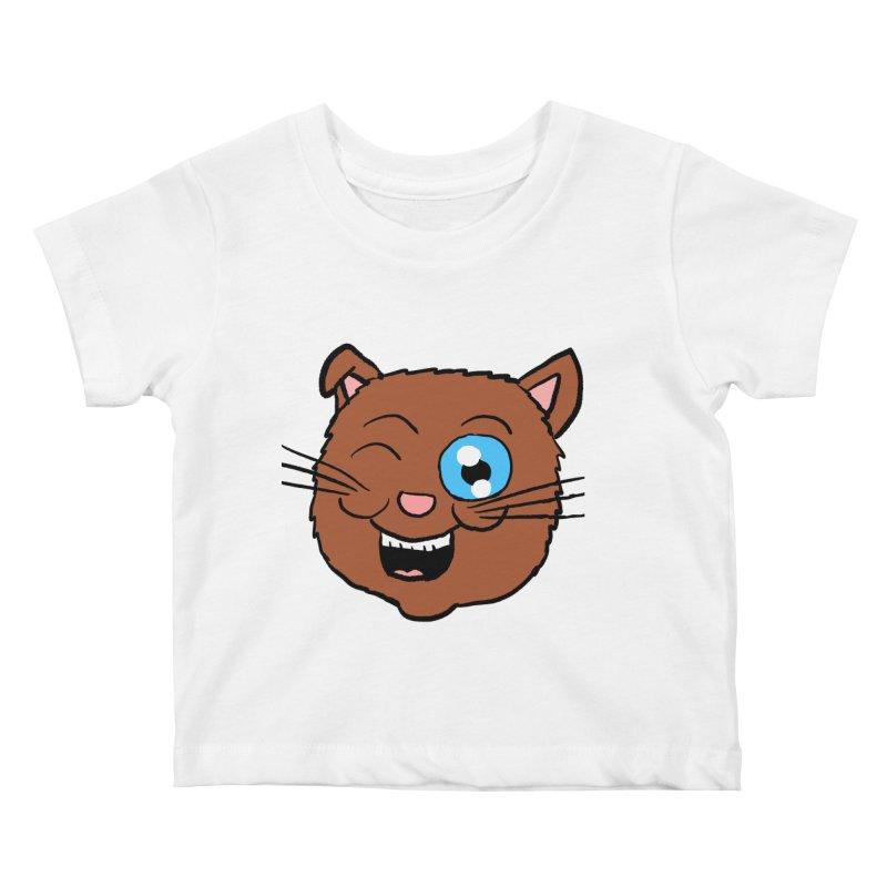 Winking Cat Head Kids Baby T-Shirt by ericallen's Artist Shop