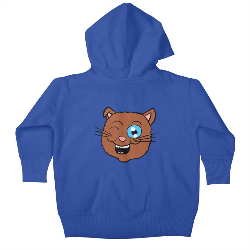 Winking Cat Head Kids Baby Zip-Up Hoody by ericallen's Artist Shop