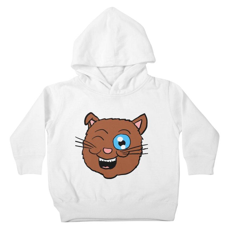 Winking Cat Head Kids Toddler Pullover Hoody by ericallen's Artist Shop