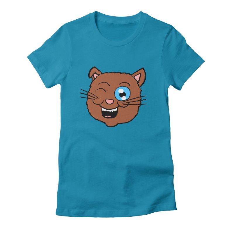 Winking Cat Head Women's Fitted T-Shirt by ericallen's Artist Shop