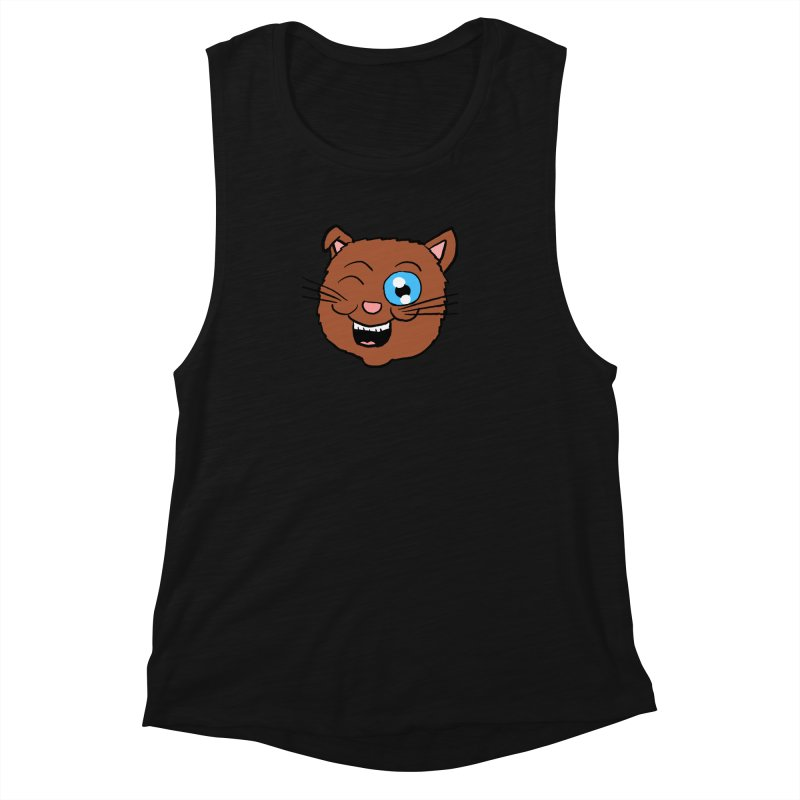 Winking Cat Head Women's Muscle Tank by ericallen's Artist Shop