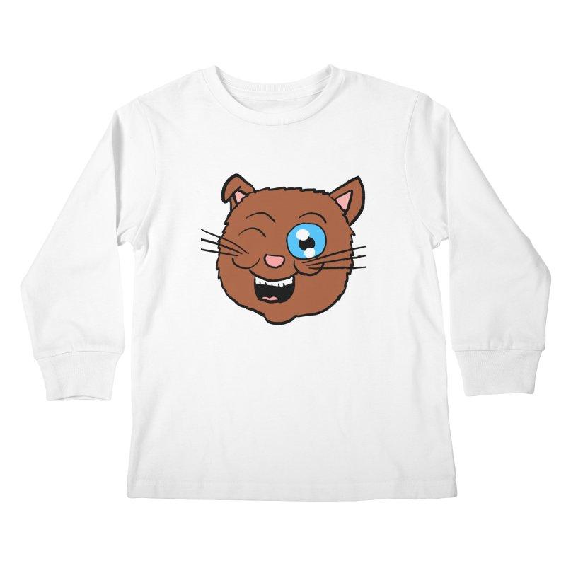 Winking Cat Head Kids Longsleeve T-Shirt by ericallen's Artist Shop