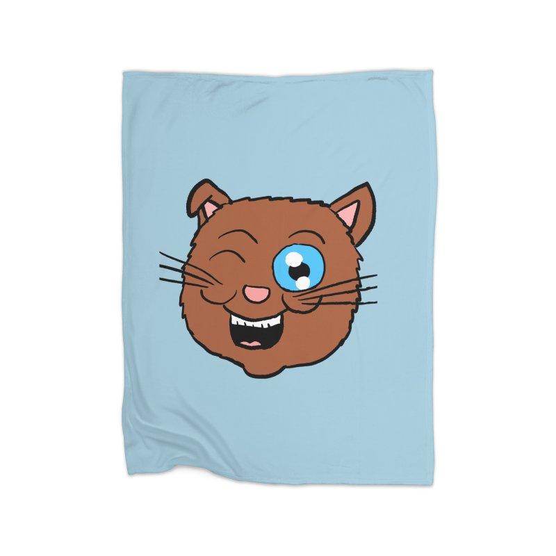 Winking Cat Head Home Blanket by ericallen's Artist Shop