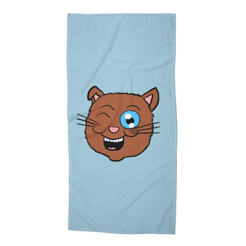Winking Cat Head Accessories Beach Towel by ericallen's Artist Shop