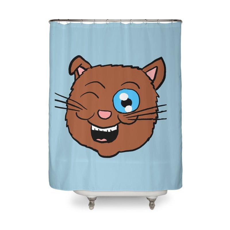 Winking Cat Head Home Shower Curtain by ericallen's Artist Shop