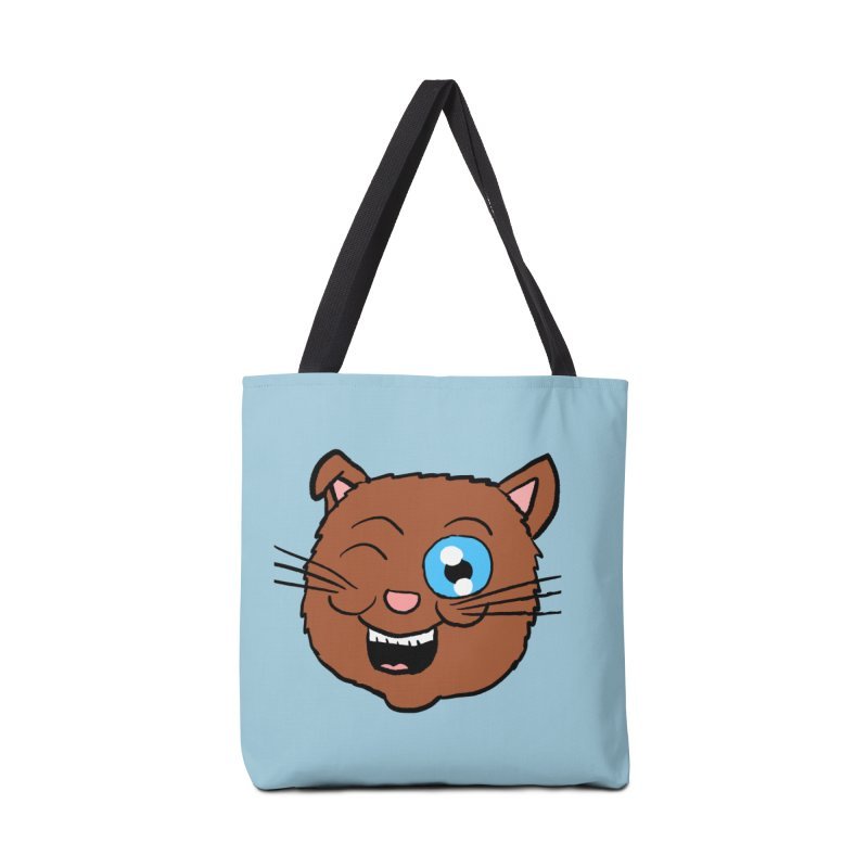 Winking Cat Head Accessories Bag by ericallen's Artist Shop