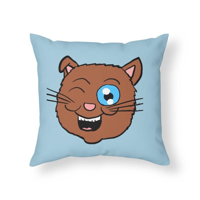 Winking Cat Head Home Throw Pillow by ericallen's Artist Shop
