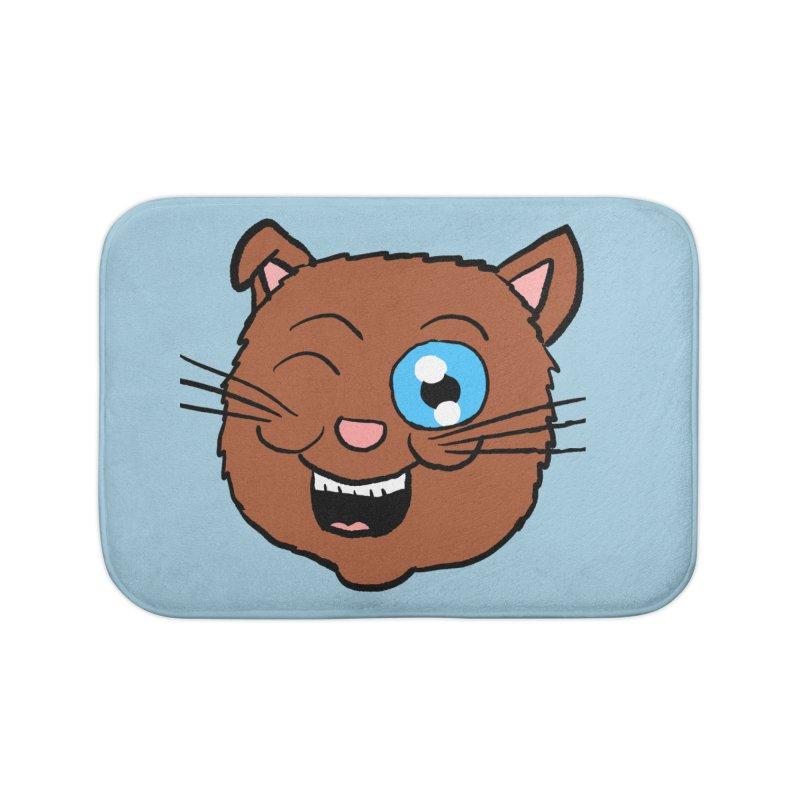 Winking Cat Head Home Bath Mat by ericallen's Artist Shop
