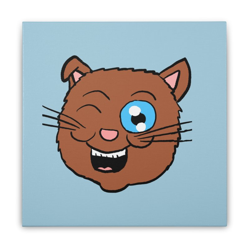 Winking Cat Head Home Stretched Canvas by ericallen's Artist Shop