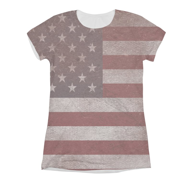 Vintage American flag Women's Triblend All Over Print by ericallen's Artist Shop