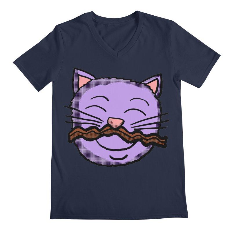 Bacon Moustache cat Men's V-Neck by ericallen's Artist Shop