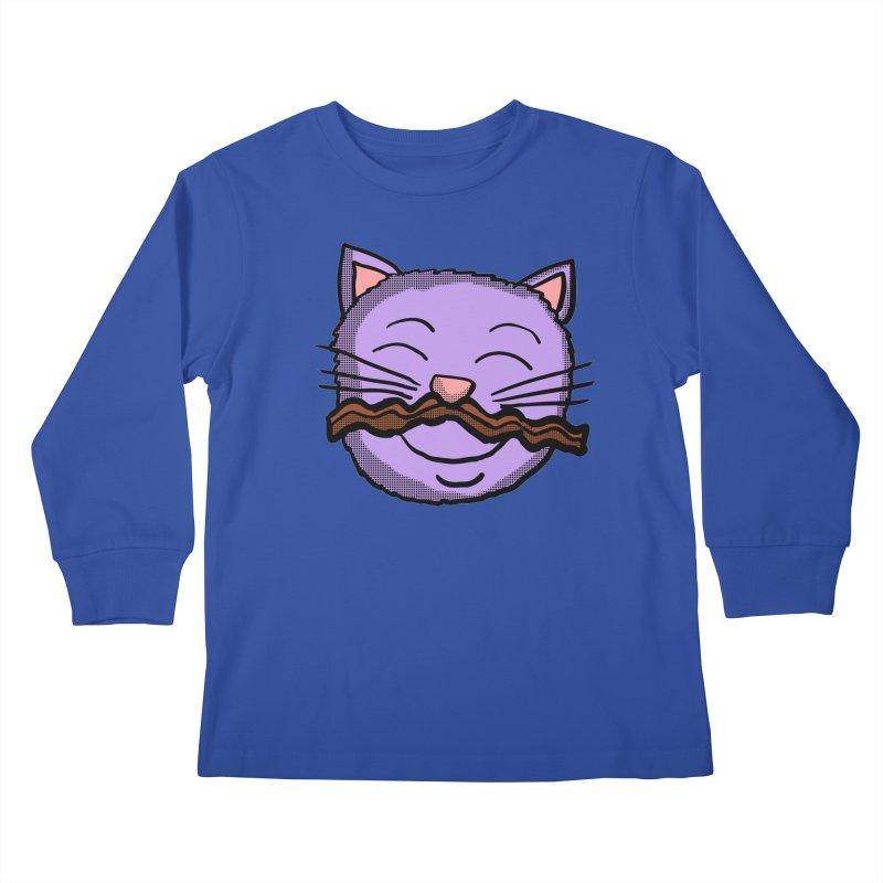 Bacon Moustache cat Kids Longsleeve T-Shirt by ericallen's Artist Shop
