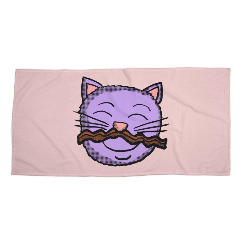 Bacon Moustache cat Accessories Beach Towel by ericallen's Artist Shop