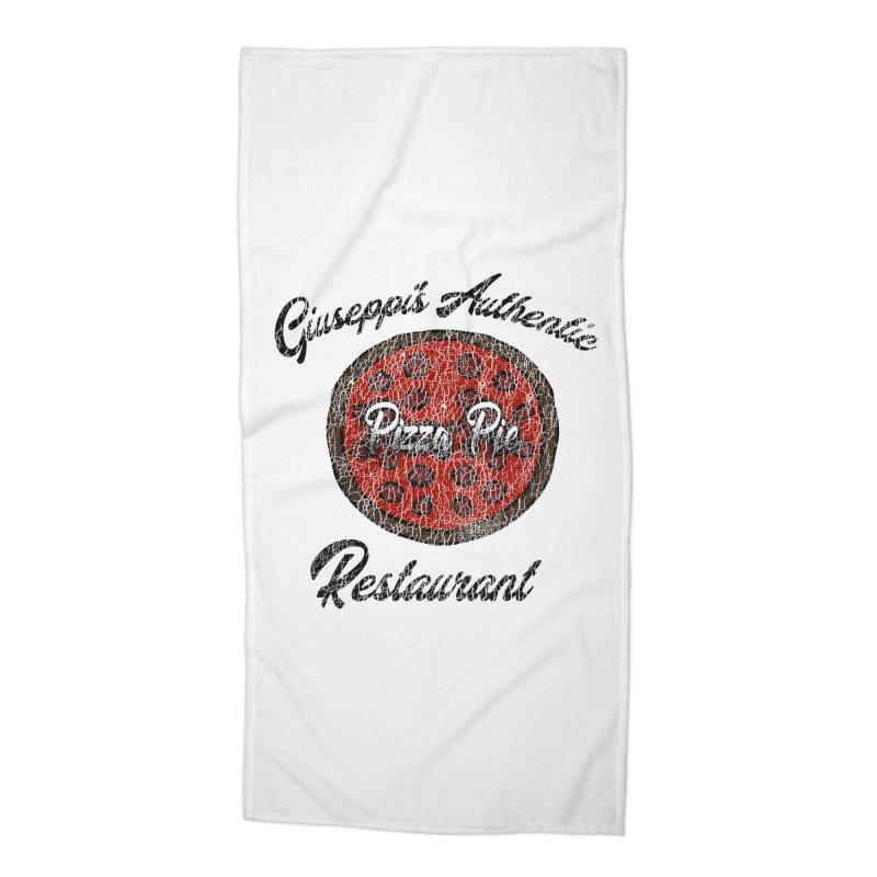 Vintage Giuseppi's Authentic Pizza Pie Restaurant Accessories Beach Towel by ericallen's Artist Shop
