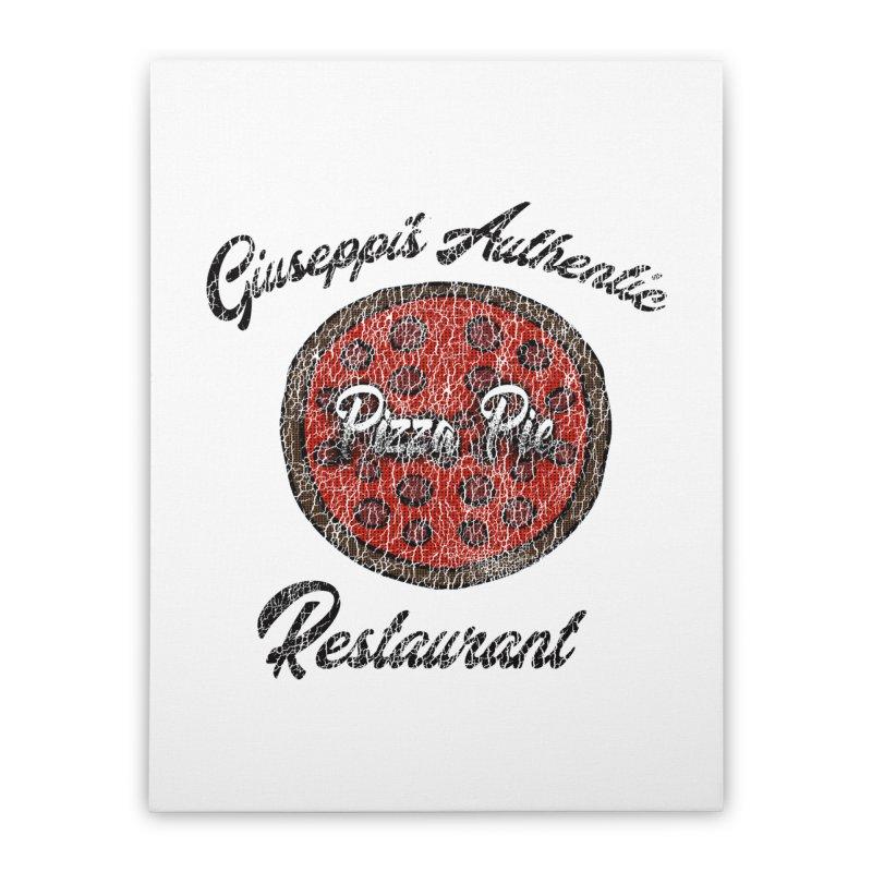 Vintage Giuseppi's Authentic Pizza Pie Restaurant Home Stretched Canvas by ericallen's Artist Shop