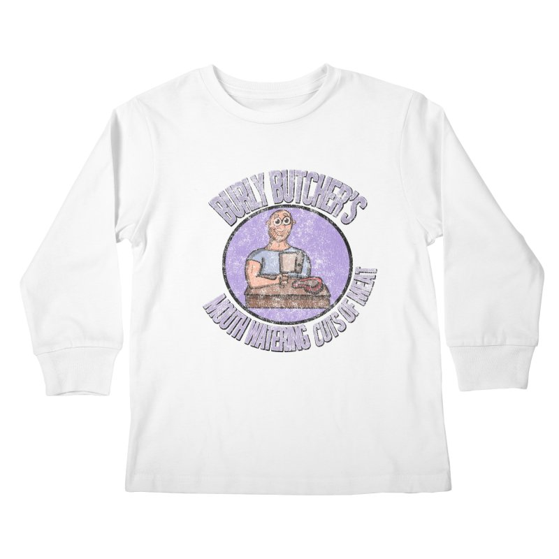 Vintage Burly Butcher's Mouth Watering Cuts of Meat Kids Longsleeve T-Shirt by ericallen's Artist Shop