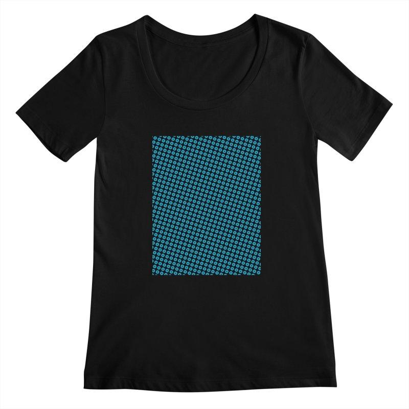 Blue dots pattern Women's Scoopneck by ericallen's Artist Shop