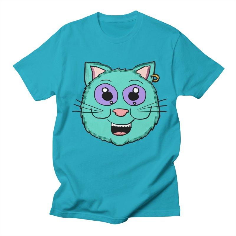 Cool Ear ring cat in Men's T-Shirt Cyan by ericallen's Artist Shop