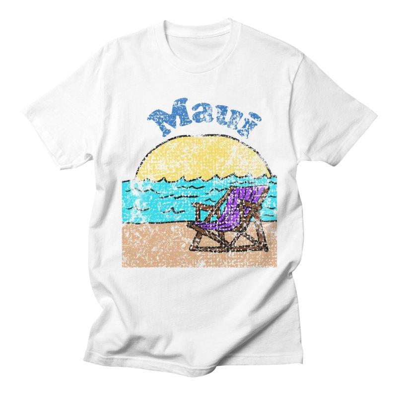 Vintage Maui Beach in Men's T-Shirt White by ericallen's Artist Shop