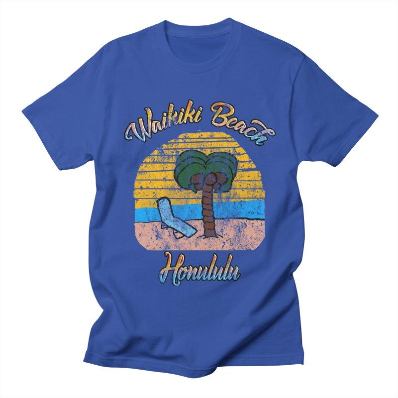 Vintage Waikiki Beach Honolulu in Men's T-Shirt Royal Blue by ericallen's Artist Shop