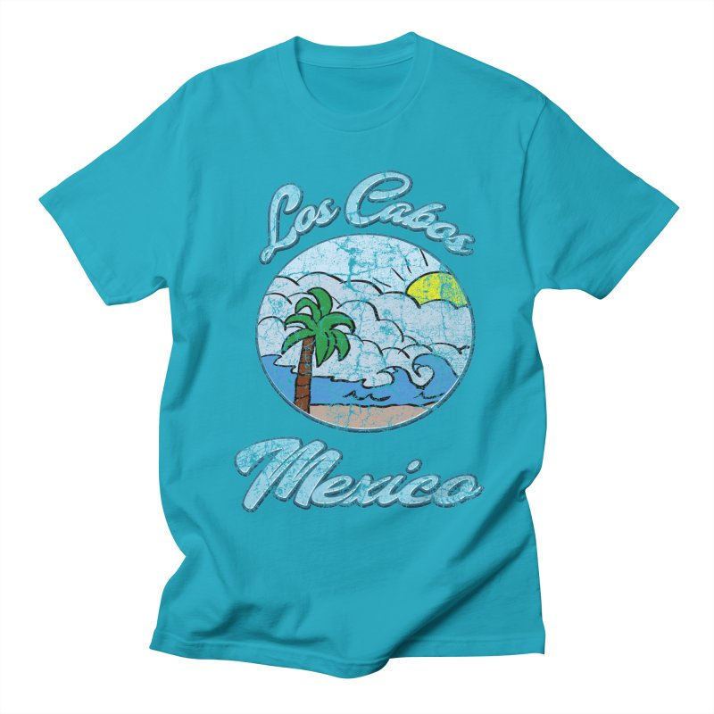 Vintage Los Cabos Mexico in Men's T-Shirt Cyan by ericallen's Artist Shop