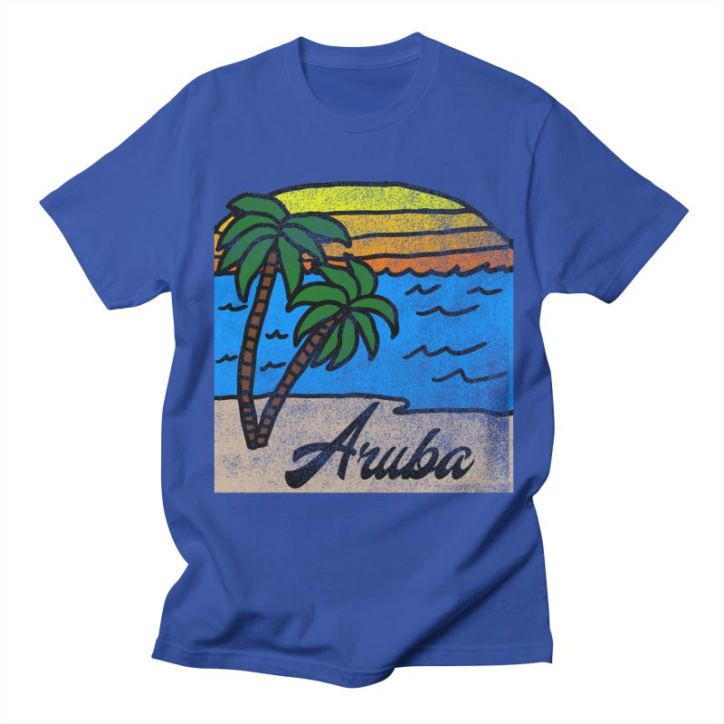 Vintage Aruba Graphic 1 in Men's T-Shirt Royal Blue by ericallen's Artist Shop
