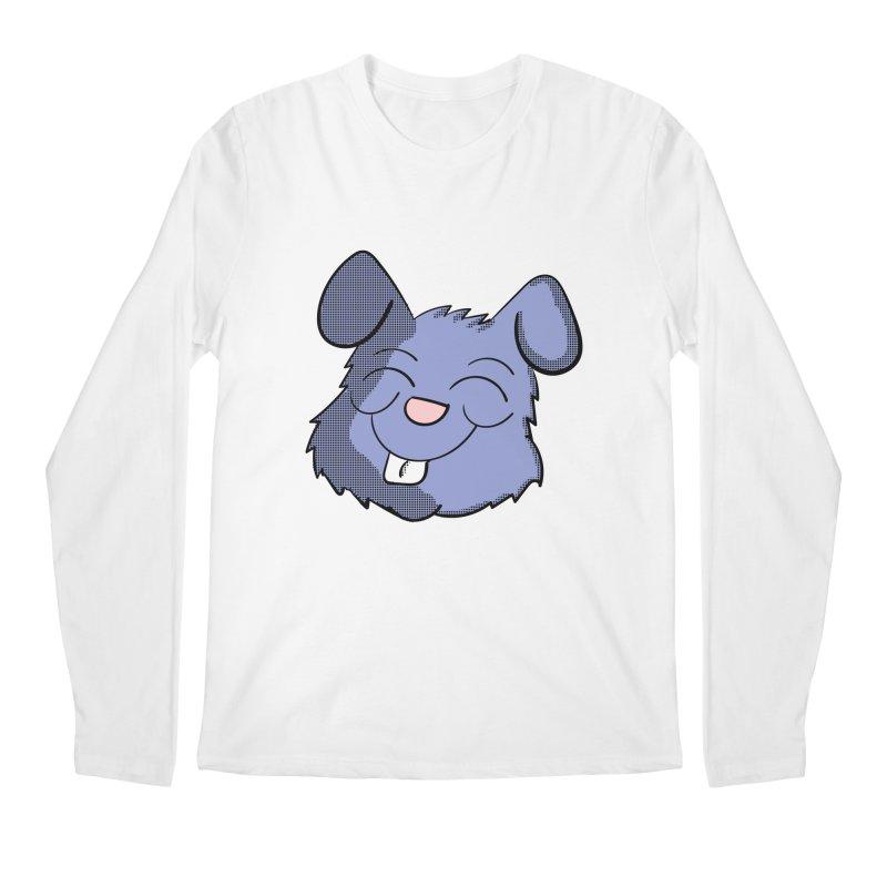 Happy Blue Bunny Head Men's Longsleeve T-Shirt by ericallen's Artist Shop