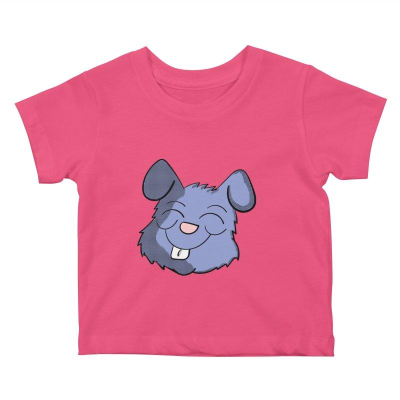 Happy Blue Bunny Head Kids Baby T-Shirt by ericallen's Artist Shop
