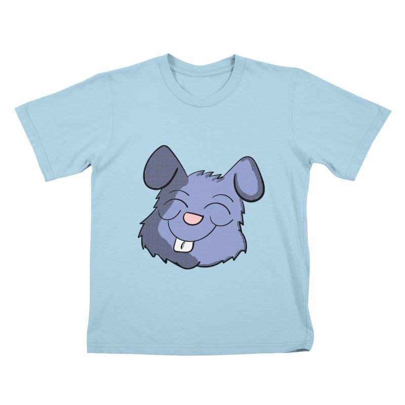Happy Blue Bunny Head Kids T-Shirt by ericallen's Artist Shop