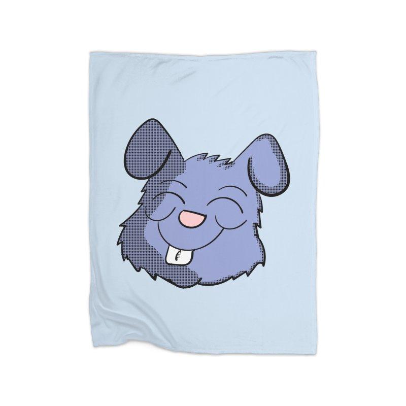 Happy Blue Bunny Head Home Blanket by ericallen's Artist Shop