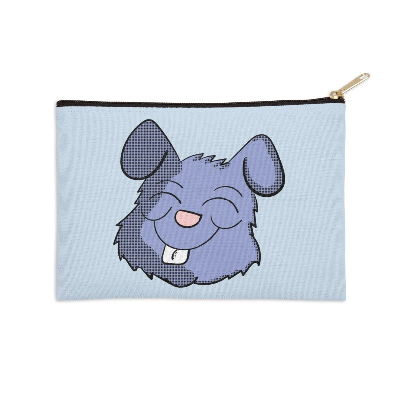 Happy Blue Bunny Head Accessories Zip Pouch by ericallen's Artist Shop