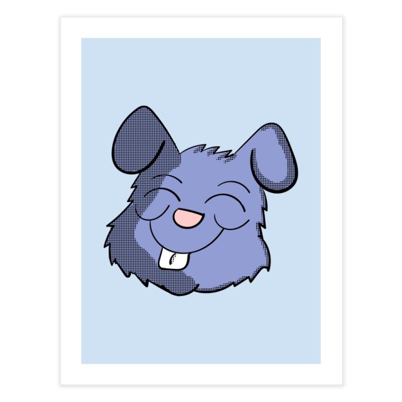 Happy Blue Bunny Head Home Fine Art Print by ericallen's Artist Shop