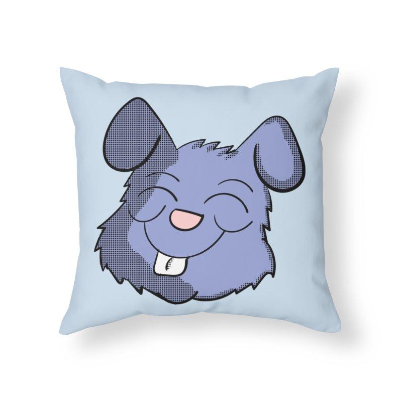 Happy Blue Bunny Head Home Throw Pillow by ericallen's Artist Shop