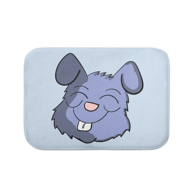 Happy Blue Bunny Head Home Bath Mat by ericallen's Artist Shop