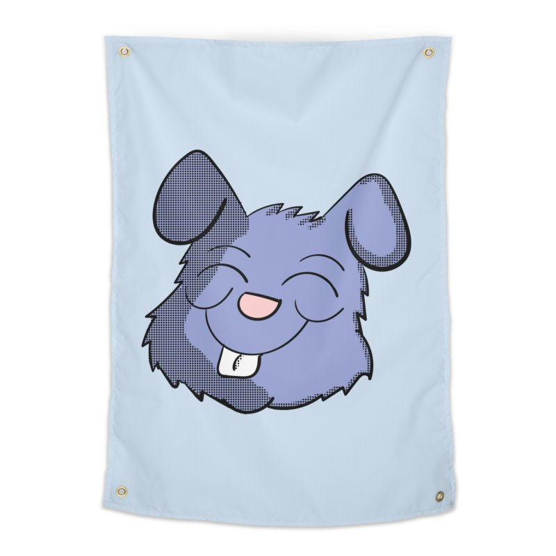 Happy Blue Bunny Head Home Tapestry by ericallen's Artist Shop
