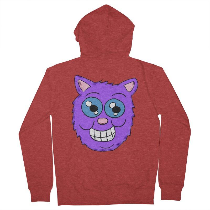 Grinning Purple Cat face Men's Zip-Up Hoody by ericallen's Artist Shop