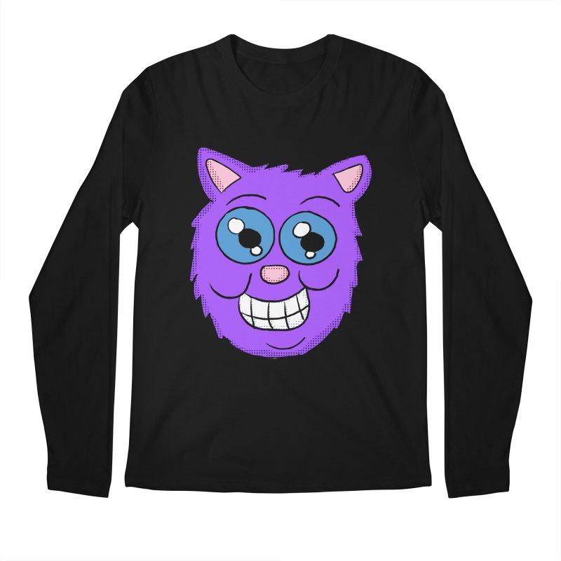 Grinning Purple Cat face Men's Longsleeve T-Shirt by ericallen's Artist Shop