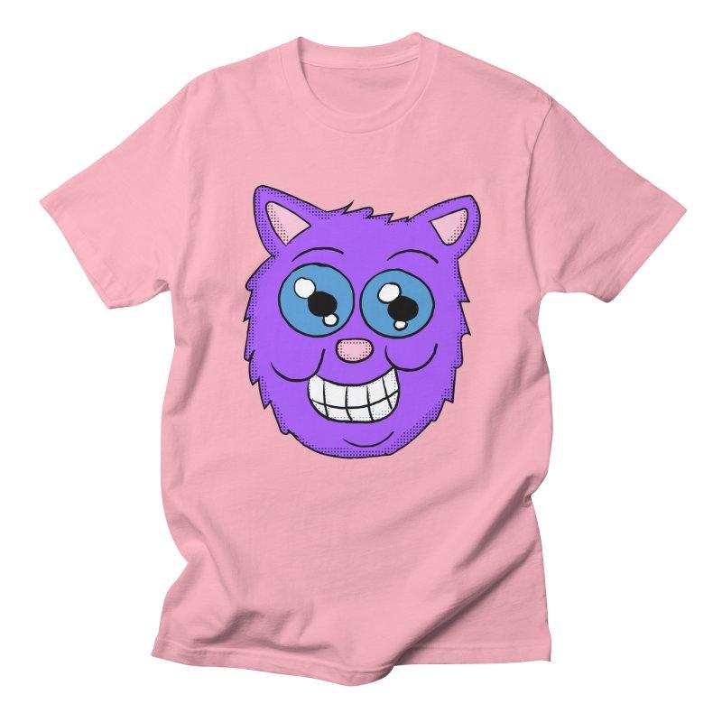 Grinning Purple Cat face Men's T-Shirt by ericallen's Artist Shop